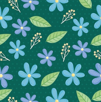 Pink flowers and leaves seamless pattern