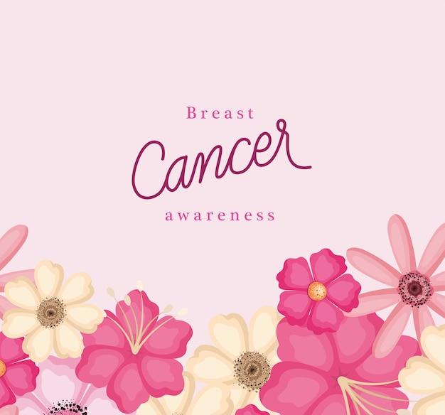 Розовые цветы дизайна осведомленности рака груди, кампании и темы профилактики