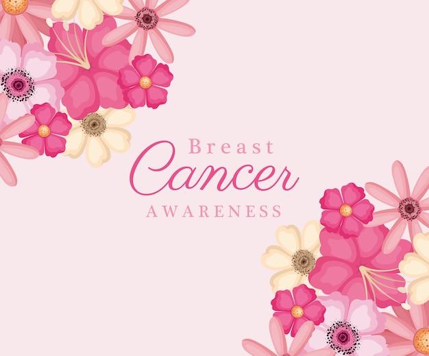乳がん啓発デザイン、キャンペーン、予防テーマのピンクの花