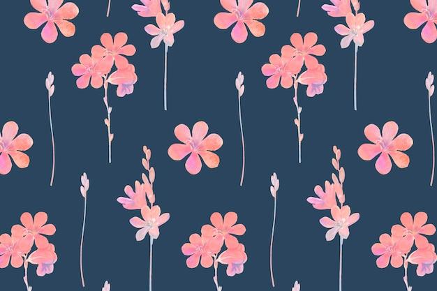 파란색 배경에 분홍색 꽃