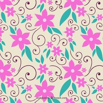 Pink flowers pattern Free Vector