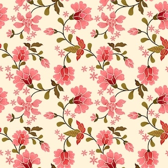 Pink flowers seamless pattern for fabric textile.