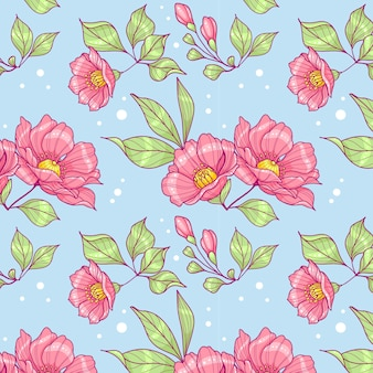 Pink flowers seamless pattern
