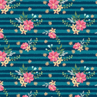Pink flowers and stripes pattern