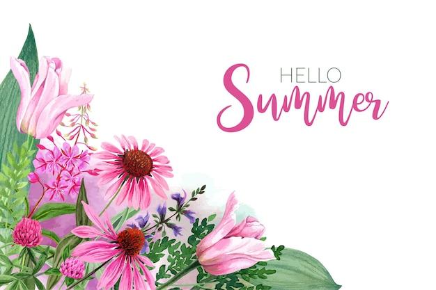 ピンクの花のチューリップとエキナセアの背景テンプレート