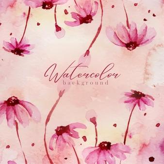 ピンクの花の水彩画の背景 Premiumベクター
