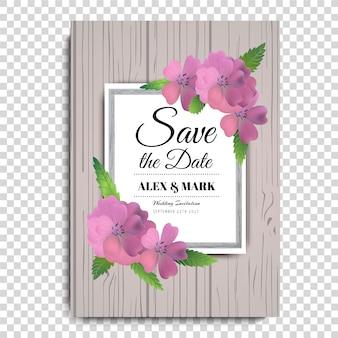 ピンクの花の結婚式のポスター