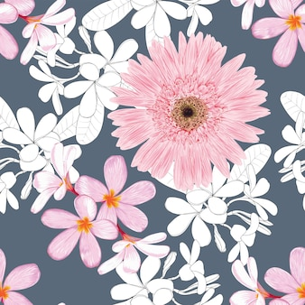 Pink flowers and white leaves floral pattern on dark blue background
