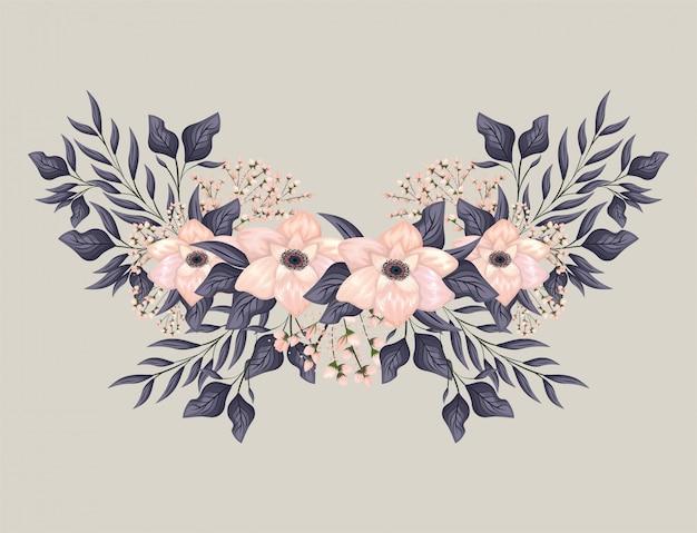 Розовые цветы с листьями, живопись дизайн, натуральный цветочный природа растение орнамент украшение сада