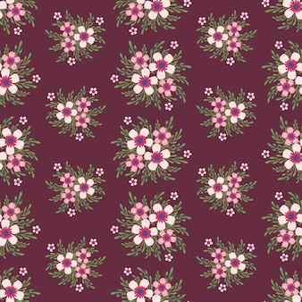 Pink flowers wreath ivy style with branch and leaves, seamless pattern
