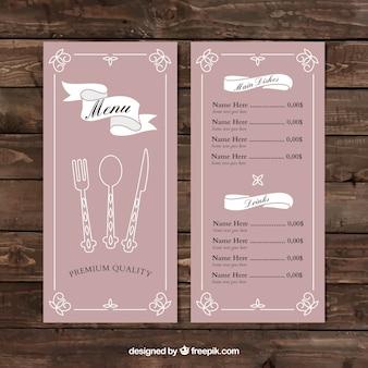 Розовый дизайн меню еды