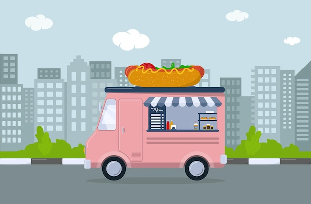 Pink food truck with hot dog. mobile cafe in the city. vector illustration