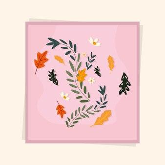 Розовая рамка с цветами