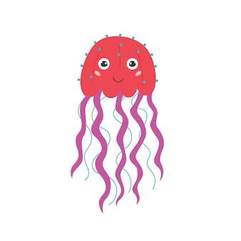 Розовая смешная медуза улыбается