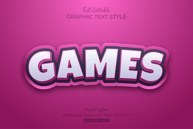 Pink games cartoon editable premium text style effect