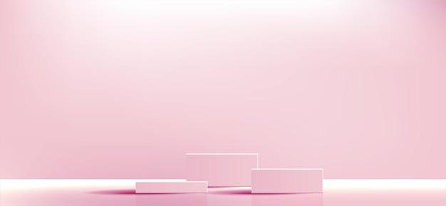 분홍색 기하학적 연단 광장 및 화장품 제품 프레젠테이션을 위한 최소 상자 빈 쇼케이스