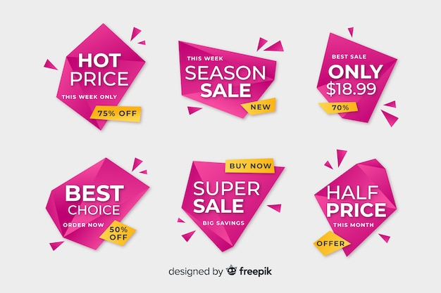 Pink geometric sale banner template