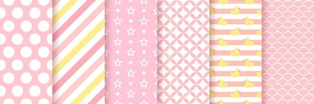 ピンクの幾何学的なシームレスパターンセット