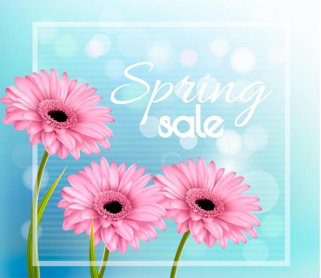 青いボケ味の背景にピンクのガーベラ。春の販売ベクトル。