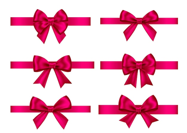 Pink  gift  bows set  isolated on white background. christmas, new year, birthday  decoration. vector realistic decor element  for banner, greeting card, poster.
