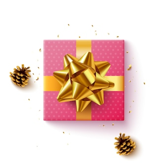 Pink gift box with golden ribbon, top view, on white background.  illustration