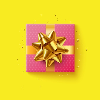 Pink gift box with golden ribbon, top view, on yellow background.  illustration