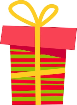 A pink gift box with a green stripe and a yellow bow for all holidays