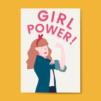 Pink girl power typography vector