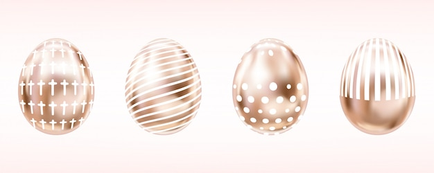 Pink glance eggs with white cross