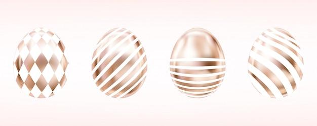 Розовые яйца с белым домино и полосками