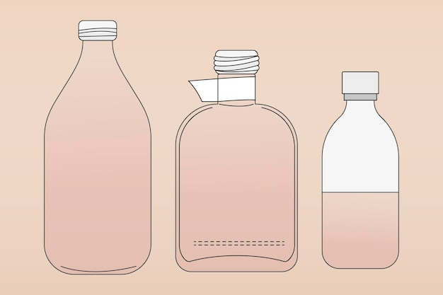 ピンクのガラス瓶の概要、ゼロ廃棄物コンテナベクトル図