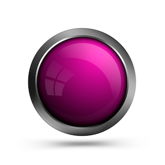 Pink glass round shape button isolated