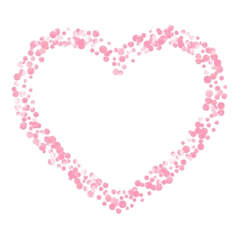 Pink glitter confetti with dots on isolated backdrop.