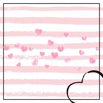 ピンクのストライプにハートのピンクのキラキラ紙吹雪。きらめきときらめきと落ちるスパンコール。グリーティングカード、ブライダルシャワー用のピンクのキラキラ紙吹雪でデザインし、招待日を保存します。