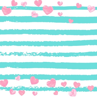 Pink glitter confetti with hearts on turquoise stripes