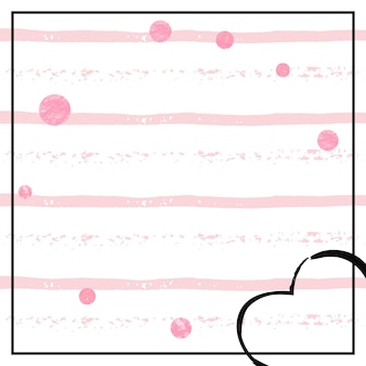 Pink glitter dots confetti on white stripes. shiny random sequins with metallic sparkles. template with pink glitter dots for greeting card, bridal shower and save the date invite.