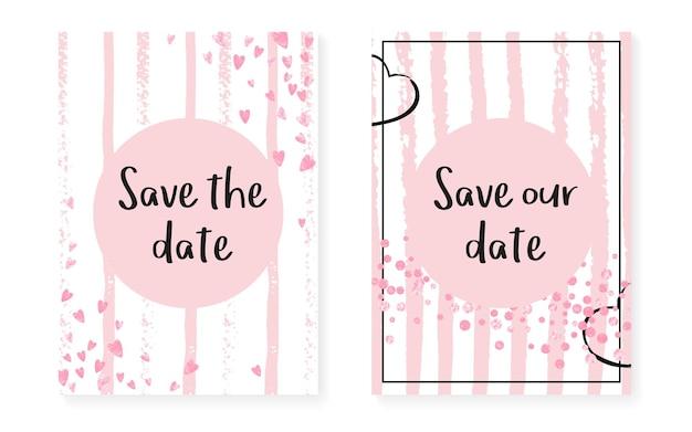 スパンコールのピンクのキラキラドット。紙吹雪がセットされた結婚式とブライダルシャワーの招待状。縦縞の背景。パーティー、イベント、日付のチラシを保存するためのヴィンテージピンクのキラキラドット。