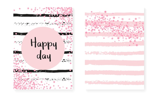Pink glitter dots with sequins. wedding and bridal shower invitation cards set with confetti. vertical stripes background. fashion pink glitter dots for party, event, save the date flyer.