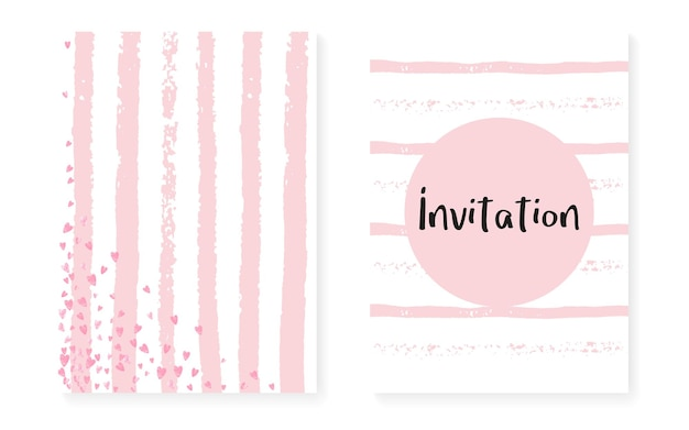 Pink glitter dots with sequins. wedding and bridal shower invitation cards set with confetti. vertical stripes background. stylish pink glitter dots for party, event, save the date flyer.