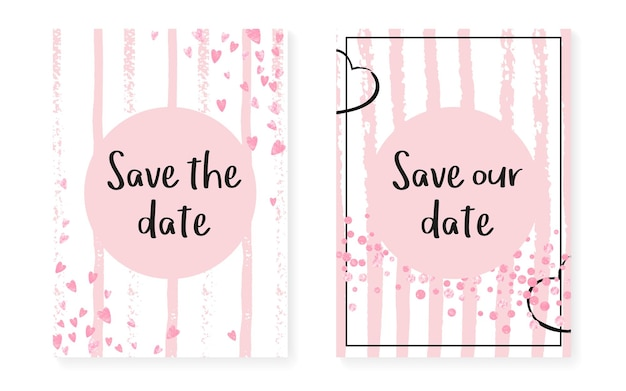 Pink glitter dots with sequins. wedding and bridal shower invitation cards set with confetti. vertical stripes background. vintage pink glitter dots for party, event, save the date flyer.