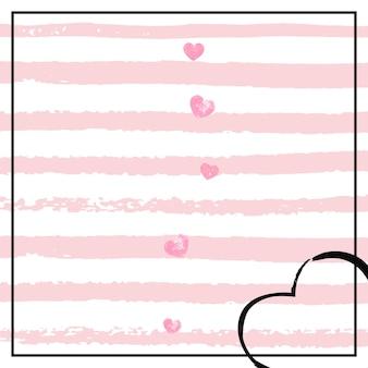 白い縞模様のピンクのキラキラハート紙吹雪。光沢のある輝きのある落ちてくるスパンコール。パーティーの招待状、バナー、グリーティングカード、ブライダルシャワーのピンクのキラキラハートのテンプレート。