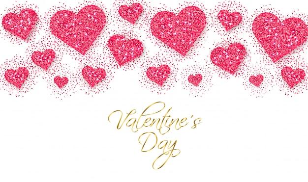 Pink glitter hearts valentine day banner