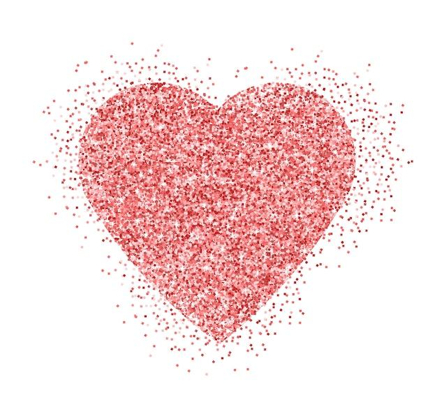 ピンクのキラキラ現実的な輝きの心