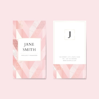 Pink glitter vertical business card template