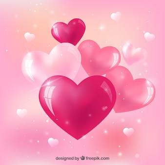 Pink glossy hearts