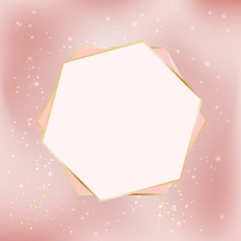 Pink glossy star background with golden frame.