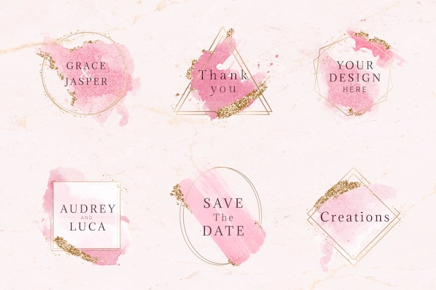 Pink and gold badge set