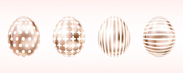 Розовые золотые яйца на пасху