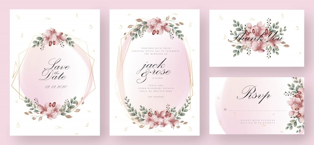 Pink and gold floral wedding invitation card