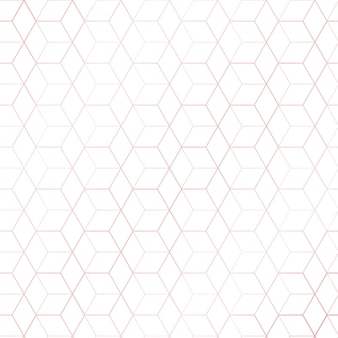 Pink gold geometric hexagons pattern white background